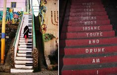 Hilarious staircases!  the piano plays when each step is stepped on.