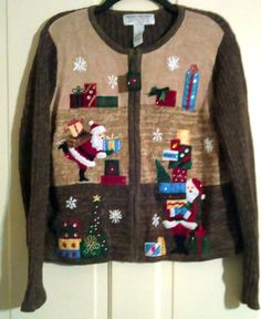 Heirloom Collectibles Christmas Collection Santa's & Embellished Gifts Variegated Brown Knitted Zippered Cardigan Size PL Petite Large by AntiquesandStuff56 on Etsy