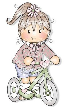 Digital Digi Jodie on Bike Stamp Little Girl by PinkGemDesigns
