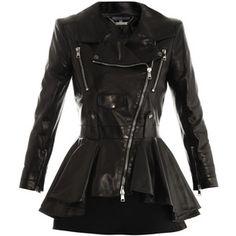 Alexander McQueen Waterfall peplum leather jacket