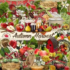 A set of Autumn/Harvest themed elements designed to coordinate with the Autumn Harvest collection from Raspberry Road.