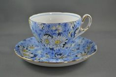 Old Vintage SHELLEY England BLUE DAISY CHINTZ  Bone China TEA CUP & SAUCER