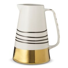 Could DIY this! Gold striped stoneware pitcher from the Oh Joy! for Target collection. Kitchenware, Tableware, Gold Stripes, Cool Bars, Decoration, Home Accessories, Decorative Accessories, Decorative Items, Stoneware