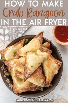 How to make Crab Rangoon in the Air Fryer - Garnished Plate - One of life's skills you never knew you needed! Once I show you how to make Crab Rangoon in the ai - Air Fryer Recipes Snacks, Air Fryer Recipes Low Carb, Air Frier Recipes, Air Fryer Recipes Breakfast, Air Fryer Dinner Recipes, Wonton Recipes, Seafood Recipes, Appetizer Recipes, Cooking Recipes