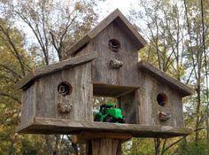 Rustic Birdhouses | Rustic Reclaimed Cedar Birdhouse Barn by SwampwoodCreations
