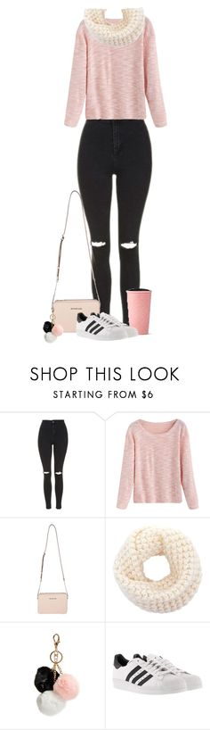 """""""Untitled #48"""" by lauraluquez ❤ liked on Polyvore featuring Topshop, MICHAEL Michael Kors, GUESS, adidas, starbucks and January2017"""