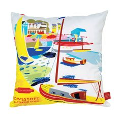 SEA AIR  Designer #MichelleMason was inspired by 1950s railway posters. #Cushion