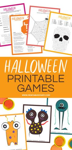 Halloween Printable Activity Set Halloween Printable Games for kids: Crossword, Word Scramble, Word Search, Maze, and Playdough mats Halloween Tags, Theme Halloween, Halloween Words, Halloween Activities For Kids, Easy Halloween, Halloween Crafts, Halloween Printable, Crafts For Kids, Halloween Decorations For Kids