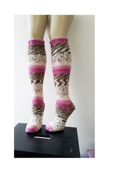 Pink Over-the-Knee Socks Warm high socks Womens winter by ENSocks
