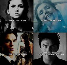 "The Vampire Diaries Elena & Damon ""She was fearless and crazier than him. And God help anyone who dared to disrespect his queen."" The suicide Squad and the Vampire diaries Vampire Diaries Memes, Vampire Diaries Damon, Vampire Diaries The Originals, Vampire Diaries Wallpaper, Vampire Daries, Ian Somerhalder Vampire Diaries, Stefan Salvatore, Damon Salvatore Quotes, Delena"