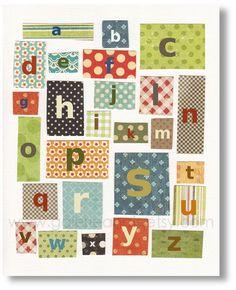 Baby nursery print, childrens art print, kids room decor, Alphabet, Blue, Red Orange, Green, Patchwork Alphabet 8x10 print from Paris
