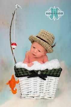 Baby Boy Fishing Hat & Fish SET Newborn 0 3m 6m Crochet Photo Prop Boys Girls Clothes ADORABLE Perfect for All Seasons. $39.95, via Etsy.