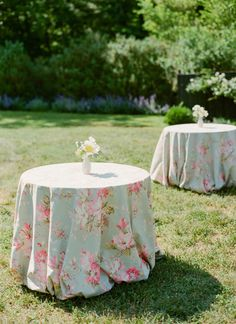 love these floral linens for cocktail hour tables!