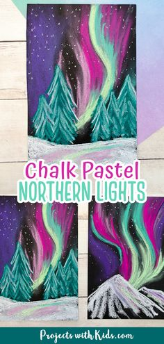 Learn about layering and blending pastels with this gorgeous northern lights chalk pastel art! Only 2 supplies needed! A beautiful winter art project kids will love creating.