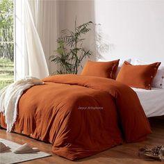 Burnt Orange Bedroom, Burnt Orange Living Room, Orange Rooms, Orange Bedding, Red Bedding, Bedroom Red, Cotton Bedding, Burnt Orange Comforter, Burnt Orange Decor