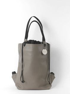 Leather with textile handmade women convertible by HugBagsAndMore #grey #accessories