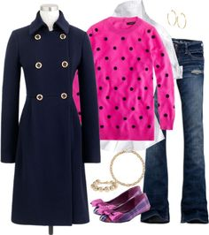 """""""navy & pink"""" by shopwithm ❤ liked on Polyvore"""