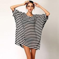 Dress Women Oversized Black White Stripes Beach Cover Up Smock Swimsuit Wrap Chiffon Beach Wear Bathing Suit Cover Ups - On Trends Avenue
