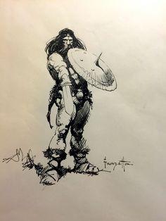 1970's Frank Frazetta Barbarian Sketch Comic Art
