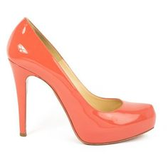 Pre-Owned Christian Louboutin Coral Patent Leather Rolando 120 Pumps ($435) ❤ liked on Polyvore featuring shoes, pumps, orange, patent leather shoes, high heeled footwear, high heel pumps, orange patent leather pumps and patent platform pumps