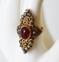 1920s Rubalite Tourmaline & Diamonds Ring Stunning