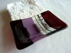 Glass Soap Dish in Plum and Violet made by BPR Designs.