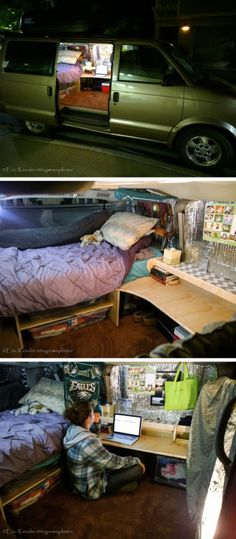 Turn a Van into a Mini Dorm Room by eric.kessler.18http://www.instructables.com/id/Van-Turned-Dorm-Room/
