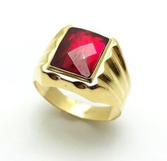 MEN'S 18K SOLID YELLOW GOLD RUBY RING SIZE 11 #18K #ruby ring #mensring #jewelry