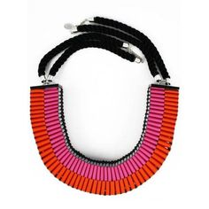 The Clemence woven necklace in pink/orange by Jennifer Loiselle