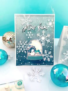 """Interactive Cards by Lydia Cost featuring """"Winter Magic"""" for #EchoParkPaper Globe Image, Ink Block, Echo Park Paper, Interactive Cards, Winter Magic, Alcohol Markers, Little Critter, Fun Challenges, Shaker Cards"""
