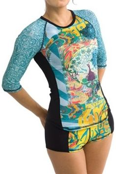 Rashguard with built in shelf bra and 3/4 length sleeves. $56 and several different patterns/colors. Girls4sport