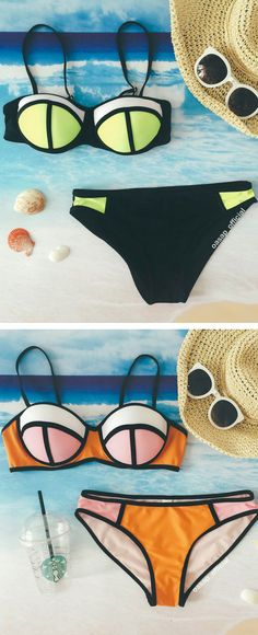 As the hot wave came in, you can't go wrong with a classic color block bikini from OASAP.COM made for a fresh summer beach.