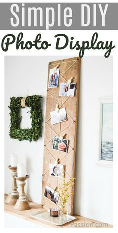 Create a simple DIY photo display with reclaimed wood and DIY Air Dry Clay clips! Full tutorial.