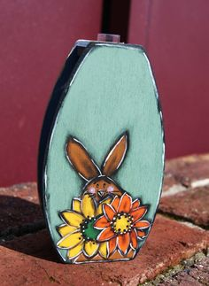 Glass tube and wood with bunny, yellow flowers and watermelon - Vase glass with bunnies - de la boutique LULdesign sur Etsy