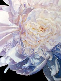 """Original art from a photo of spring peony in my backyard.""""Of Raindrops On Peonies and Galaxies"""" 18""""x24"""" painted by Celeste McCall 