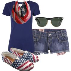 Fourth of July outfit. red shirt instead since i have like 1000 red shirts. just need the scarf. thanks to target ;)<br> A fashion look from June 2013 featuring blue t shirt, short shorts and red scarves. Browse and shop related looks. 4th Of July Outfits, Holiday Outfits, Summer Outfits, Cute Outfits, Summer Clothes, Holiday Fashion, Casual Outfits, Red Shirt, Color Negra