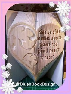 Side by Side or Miles Apart Sisters are Joined Heart to Heart Book Folding Pattern by BlushBookDesign on Etsy