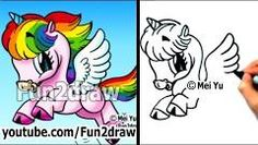 How to draw a rainbow Pegacorn (Pegasus and unicorn)