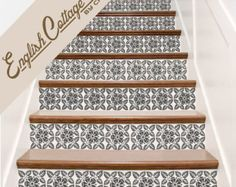 Vinyl Stair Tile Decals  The Hacienda is comprised of 3 different designs. You can have all three, 2 or just one. Scroll through the picts to see color and design choices and note your choice(s) at checkout along with the size of your risers. One order = one riser decal, so if you have 7 stairs, order 7 decals. While going through the check-out process and just before Etsy prompts you for payment there will be an area for a note: USE THIS SPACE to tell us your riser SIZE(s), and COLOR and…