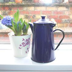 Vintage cobalt blue enamel Polish coffee pot by lizzylovesvintage  Springtime Hostess Gifts  #vintage #hostess