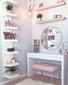 "Perfête ®️ on Instagram: ""Gorgeous pink and rose gold vanity inspiration for your Perfete home via @ddelasoul. Vanity: @ikeausa Mirror: @target Wooden Shelves:…"""