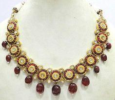 Vintage Antique 22K Gold Diamond Polki Necklace Pendant Rajasthan India | eBay