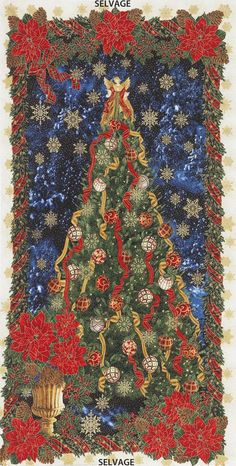 Christmas Silent Night TREES cotton fabric Size 55 cm x 50 cm larger available