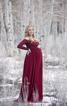 Emma Gown • Long Sleeve Maternity Gown • Maternity Dress • Sweetheart Style Gown • Lace maternity gown • Maxi Dress • by Sew Trendy