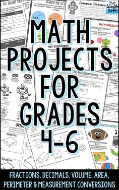 Fun End of Year Math Activities or Anytime of the year Math Enrichment- Five Math Projects Included: Fraction Project: Plan a Party, Decimal Project: Run a Bowling Alley, Area & Perimeter Project: Gardening Tasks, Measurement Conversions Project: Run a Ci Math Teacher, Math Classroom, Teaching Math, Classroom Ideas, Teacher Stuff, Teaching Ideas, Math Measurement, Measurement Conversions, Math Resources