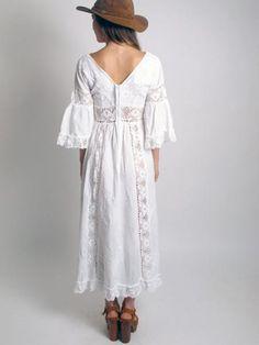 Image detail for -... pin tuck cotton open sheer crochet trim boho hippie maxi wedding dress