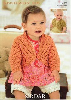 Boleros in Sirdar Snuggly DK Toddler Cardigan, Baby Cardigan, Sirdar Knitting Patterns, Crochet Patterns, Knitting For Kids, Hand Knitting, Knit Crochet, Crochet Hats, Weaving Patterns