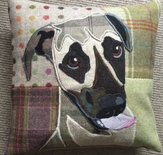 Mastif pup tweedy cushion