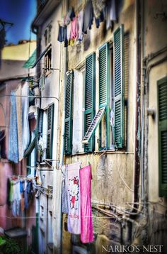 Drying LaundryCinque Terre Italy 16x24 Original HDR by NarikosNest, $40.00