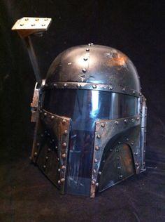 Steampunk Boba Fett Black Rusted  battle bashed helmet Star Wars Cosplay. $200.00, via Etsy.